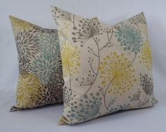 Yellow and Blue Decorative Pillow Covers! This listing is for TWO brown, soft yellow and spa blue floral throw pillow covers in a large