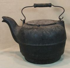 cast iron irons antique | 31: Vintage Cast Iron Water Kettle : Lot 31