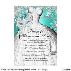 Silver Teal Princess Masquerade Sweet 16 Invite