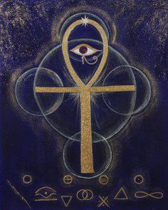 """""""The Ankh is also known as key of life, the key of the Nile or crux ansata (Latin meaning """"cross with a handle""""), was the ancient Egyptian hieroglyphic character that read """"eternal life"""". The symbolic representation of both Physical and Eternal life Egyptian Symbols, Ancient Egyptian Art, Ancient Symbols, Hippie Art, Book Of Shadows, Sacred Geometry, Wiccan, Occult, Ankh Meaning"""