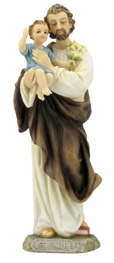 """Saint Joseph and Child Jesus statue. Beautiful hand painted statue of the father of Jesus. Veronese Collection Made of resin and hand painted. Measures at 8"""" tall."""