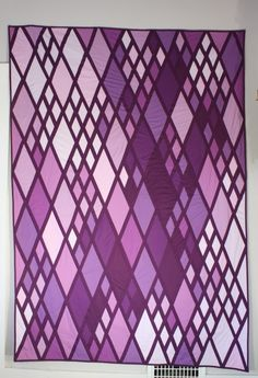 Modern Purple Monochromatic Diamond Quilt from theartistshouse shop on etsy.