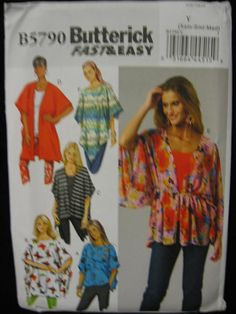 Butterick Misses Womens Wrap Cover Up Ponchock by Vntgfindz