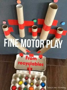 Fine motor Play from Recyclables - Teach Me Mommy - Fun Activities for Kids - Use recyclables to make this fun fine motor toy! Adaptable for different ages too? Toddler Play, Toddler Learning, Baby Play, Toddler Crafts, Crafts For Kids, Toddler Games, Recycled Crafts Kids, Kid Games, Baby Games