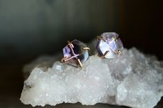 Amethyst Slice Post Studs. Hexagon Earrings. Natural Amethyst OOAK Earrings. February Birthstone. Delicate Gold Filled Gemstone Earrings