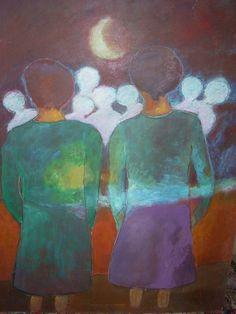 """Artista: Violeta L. M. de Tilmant Título: """"Serie Esperando respuesta II """" Tamaño: 0.60 x 0,80 Técnica:Pintura, expresionista Lugar: Buenos Aires, Argentina Precio: 150 dólares"""