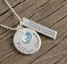Jewelry, New Baby, New Mommy, hand stamped personalized necklace, $38, http://www.etsy.com/shop/divinestampings