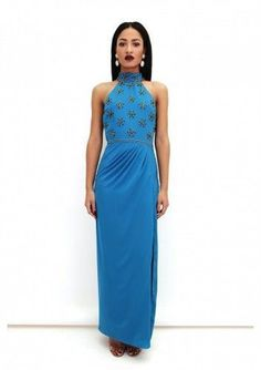 99d73770ad7 Virgos Lounge Teal Halter Embellished Cocktail High Maxi Party Dress 8 to  16 New  VirgosLounge