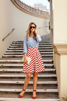 Street style - I normally don't like the chevron pattern, but this look is seriously gorgeous