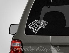 """Car Decal - 7"""" Game of Thrones inspired Direwolf style 2 House Stark Crest Car Decal by PerfectlyAligned on Etsy https://www.etsy.com/listing/103956750/car-decal-7-game-of-thrones-inspired"""