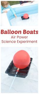 Explore how air can propel things with this balloon boat science experiment. Also a great excuse to play in the water! Balloon Science Experiments, Stem Science, Science Projects, Primary Science, Preschool Science, Science For Kids, Outdoor Activities For Kids, Stem Activities, Toddler Activities