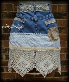 Blue Jean Denim & Lace Designer Apron Hand Crafted by WKayDesignz, $32.00