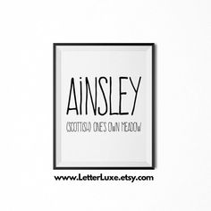 Eden name meaning art printable baby by letterluxeprintables baby ainsley name meaning art printable new baby gift nursery printable art digital print nursery decor typography wall decor negle Images