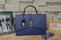 Hurry Up!2015 Hermes Small Leather Goods Outlet With Free Shipping-Hermes Top Handle Bag in Royal Blue Ostrich Leather