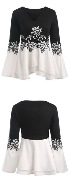 Embroidered Bell Sleeve Peplum T-shirt