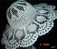 Pretty thread crochet hat with brim! CROCHE COM RECEITA: Chapéu em crochê adulto