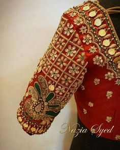 Make a statement this Wedding season in a handcrafted Nazia Syed blouse inspired by Kaasmalai. Beautiful red color designer blouse with swan design hand embroidery kundan and kasu work. Wedding Saree Blouse Designs, Pattu Saree Blouse Designs, Blouse Designs Silk, Designer Blouse Patterns, Wedding Sarees, Mirror Work Blouse Design, Kids Blouse Designs, Stylish Blouse Design, Unique