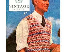 INStANT DOWNLOAD- Vintage Visage knitting pattern- mens fair isle pullover jumper pdf email delivery