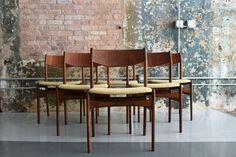 Walnut Dining Chair Set of Six by DUX Mid century modern danish sweden minty