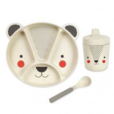 Petit Collage Bamboo Dinnerware Set has a plate, spoon and non spill sippy cup. Perfect dinner set for little ones who are learning to eat independently. Collage, Baby Table, Baby Bamboo, Monster Cards, Jüngstes Kind, Jewelry Kits, Cold Meals, Stationery Set, Dinner Sets
