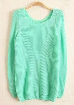 Light Green Plain Round Neck Wool Blend Sweater
