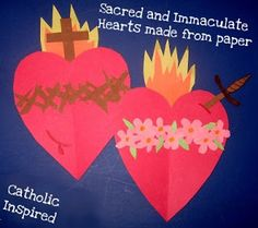 For Valentines Day....Create the Sacred and Immaculate Hearts from Paper - Catholic Inspired