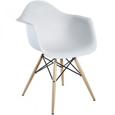 2. Antique Eames Molded Plastic Chair Wood Legs