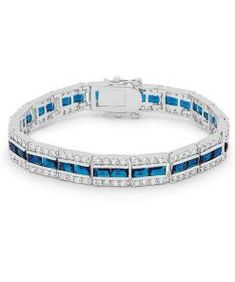 Fashioned in luminescent silver tone and three rows of assorted shimmer -- our Balboa Blue Cubic Zirconia Bracelet lends sassy tones to classic refinement. Our genuine rhodium finish is achieved using an electroplating process that coats the ite. Fashion Bracelets, Fashion Jewelry, Trendy Bracelets, Blue And Silver, Sterling Silver Jewelry, Turquoise Bracelet, Coats, Tennis, Products