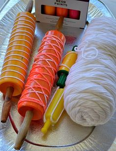 Art Activities for kids : Rolling Pin Yarn Prints