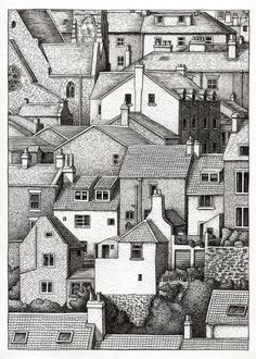 Amazing Pen and Ink Cross Hatching Masters Edition Ideas. Incredible Pen and Ink Cross Hatching Masters Edition Ideas. Pen Illustration, Ink Illustrations, Ink Pen Drawings, Cool Drawings, Drawings Of Buildings, Stippling Art, Building Drawing, Buch Design, Cross Hatching