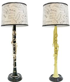 After this clarinet played its last notes, the artist fixed each piece in its own base and a shade featuring sheet music. Sure to make the musician, music teacher or music lover's heart glissando with delight, this quirky piece of home decor gives this instrument a standing ovation. $220.00