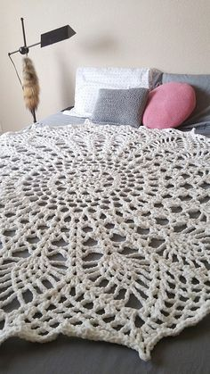 Giant Doily Blanket Crochet Rug by roomtoflourish on Etsy
