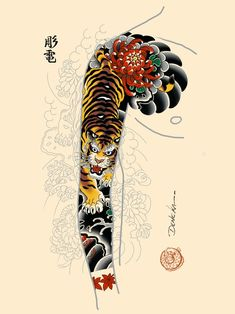 Popular Tattoos and Their Meanings Traditional Japanese Tattoo Sleeve, Japanese Tiger Tattoo, Japanese Tattoo Symbols, Japanese Dragon Tattoos, Japanese Tattoo Designs, Japanese Sleeve Tattoos, Chinese Tattoos, Arabic Tattoos, Dragon Tattoo Arm