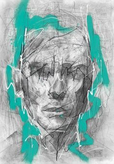 Danny O'Connor (DOC) Mixed Media Head Study. Graphite, Spray Paint, Correction Fluid and Ink on 200gsm acid free paper.