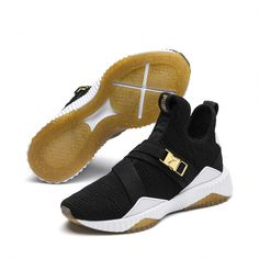 huge selection of 87cea 85921 Image 2 of Defy Varsity Mid Women s Sneakers, Puma Black-Metallic Gold,  medium. Fashion Trend