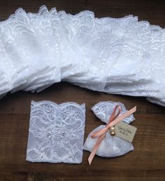 lace favor bags white jordan almonds bags by TheWeddingBirds