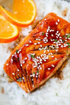 Salmon with Orange Teriyaki Glaze - the easiest salmon you'll ever make. Juicy and delicious salmon with a tangy, sweet and savory orange teriyaki sauce