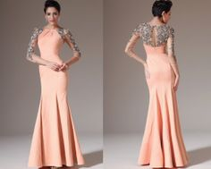 Custom Made New Sheer Back & Sleeves Orange Evening Dress   (02141410)