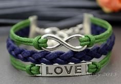 Love bracelet, infinity bracelet, Green rope and leather bracelet,for best friends on Etsy, $3.99