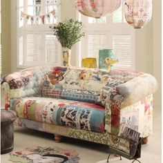 From Kelly Rae Roberts - this would look fabulous in my living room! Decor, Furniture, Chic Furniture, Patchwork Sofa, Home Decor, Creative Home, Living Room Furniture Sofas, Shabby Chic Homes, Chic Home Decor