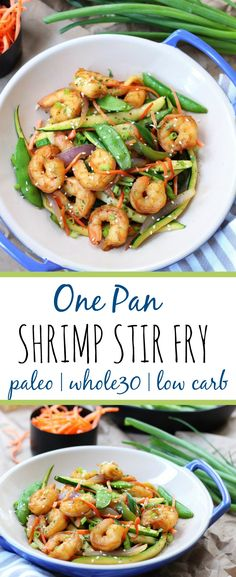 This easy shrimp stir fry recipe is a great dinner! If you love stir fry, you& love this low carb version! Using zucchini noodles lets you eat this flavorful paleo meal, without the carbs! Plus the best tips for cooking with gelatin are included! Healthy Cooking, Healthy Dinner Recipes, Paleo Recipes, Whole30 Shrimp Recipes, Paleo Ideas, Fish Recipes, Seafood Recipes, Cabbage Recipes, Sandwich Recipes
