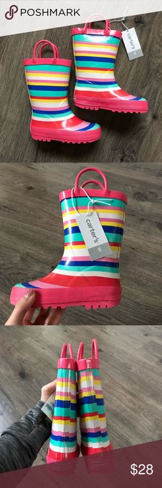 Striped Rain Boots Beautiful new, glossy and colorful toddler rain boots. They come with the original box. Carter's Shoes Rain & Snow Boots
