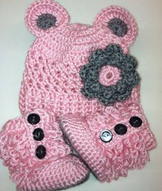 Handmade Crochet Baby Pink and Grey Teddy Bear Hat and Ugg Booties, Size 3-6 Month - Made to Order