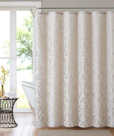 <p>Give your bathroom a gorgeous focal point with this Essential Home Selena Scroll Shower Curtain. An allover tonal scroll pattern offers understated elegance, while the durable materials are made to last for years of use. Keep water fashionably off the floor with this shower curtain.</p>