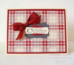 Handmade Christmas Card Cranberry Plaid on by AcarrdianCards