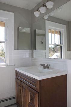benjamin moore sabre gray Benjamin Moore, Paint Colors, Gray, Mirror, Bathroom, Furniture, Home Decor, Paint Colours, Washroom