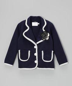 Love this Dark Blue Flower Button Jacket - Toddler & Girls by Blossom Couture on #zulily! #zulilyfinds