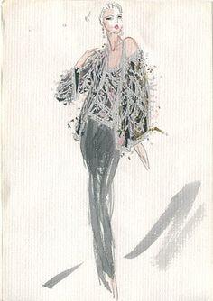 Joe Eula fashion illustrations for Halston. 1980.