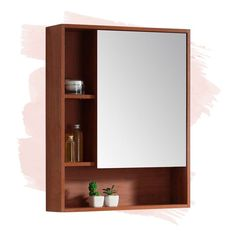 Foundstone Lee Left Handed x Surface Mount Framed Medicine Cabinet Finish: Walnut, Orientation: Right Decor, Home, Wall Mounted Cabinet, Mirror Interior, Cabinet, Furniture, Storage Spaces, Interior, Interior Walls