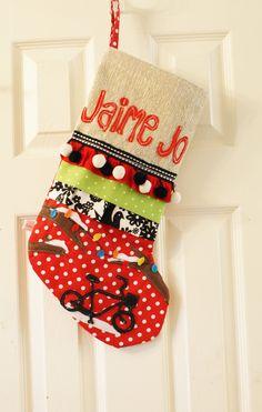 Custom Hand Made Personalized Christmas Stocking by DunlapLove, $75.00